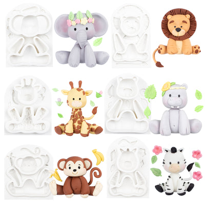 Jungle Animals Fondant Silicone Molds 6-count 2.6-3.6inch
