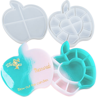 Apple Trinket Box Resin Silicone Mold with Lid 4.8x5.2x0.8inch