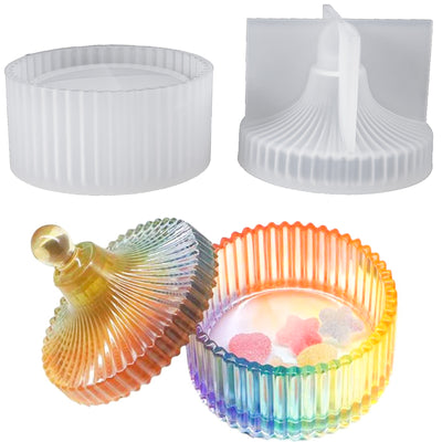Fluted Round Jewelry Box Resin Silicone Mold with Lid