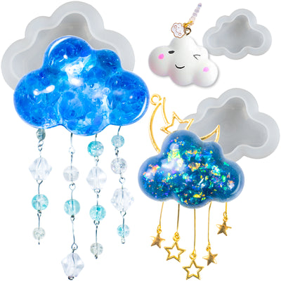 3D Cloud Assortment Epoxy Resin Silicone Molds Set 3-count 2.8inch 2.1inch 1.5inch