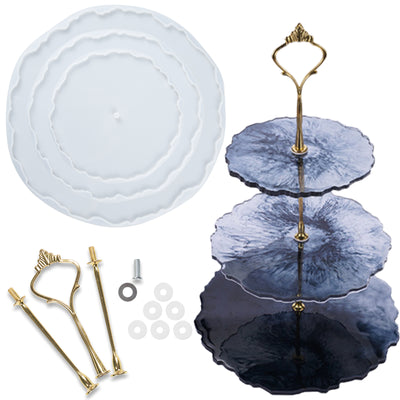3 Tier Cake Stand Epoxy Resin Molds Geode Agate Silicone Trays with Hardware Fittings, Round