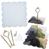 3 Tier Cake Stand Epoxy Resin Molds Geode Agate Silicone Trays with Hardware Fittings Square