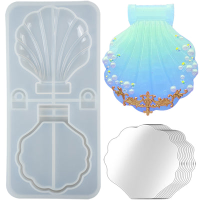 Seashell Compact Mirror Resin Silicone Mold with 10 Mirrors