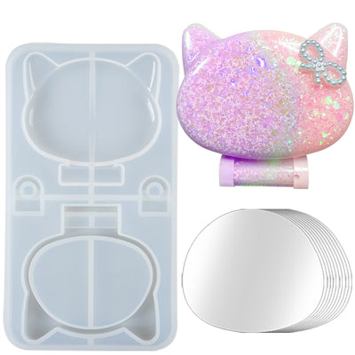 Cat Head Compact Mirror Resin Silicone Mold with 10 Mirrors