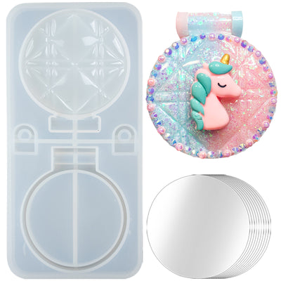 Round Compact Mirror Resin Silicone Mold with 10 Mirrors