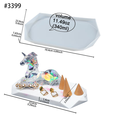 Jewelry Display Tray Resin Silicone Mold Multi-faceted Rectangle 9.29x3.93inch