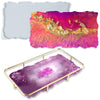 Geode Agate Platter Epoxy Resin Mold with Metal Frame, Rectangle 12.4x6.9inch