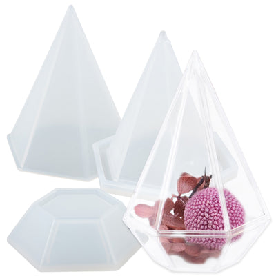 Hexagon Pyramid Storage Box Resin Silicone Mold with Lid