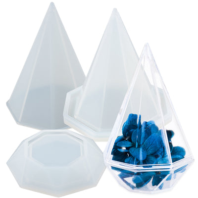Octagon Pyramid Storage Box Resin Silicone Mold with Lid