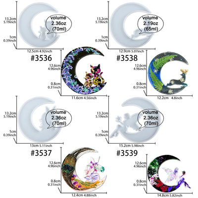 Crescent Moon Resin Silicone Molds Unicorn|Deer|Cats|Fairy 4-count Large 5.2inch