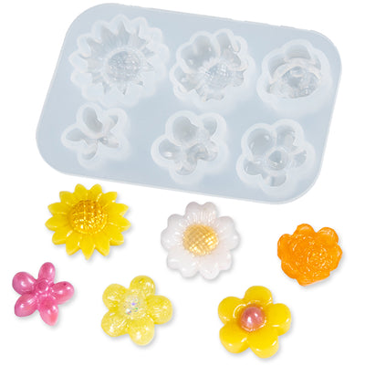 Little Flower Cabochon Resin Silicone Mold 6-cavity Chrysanthemums|Rose