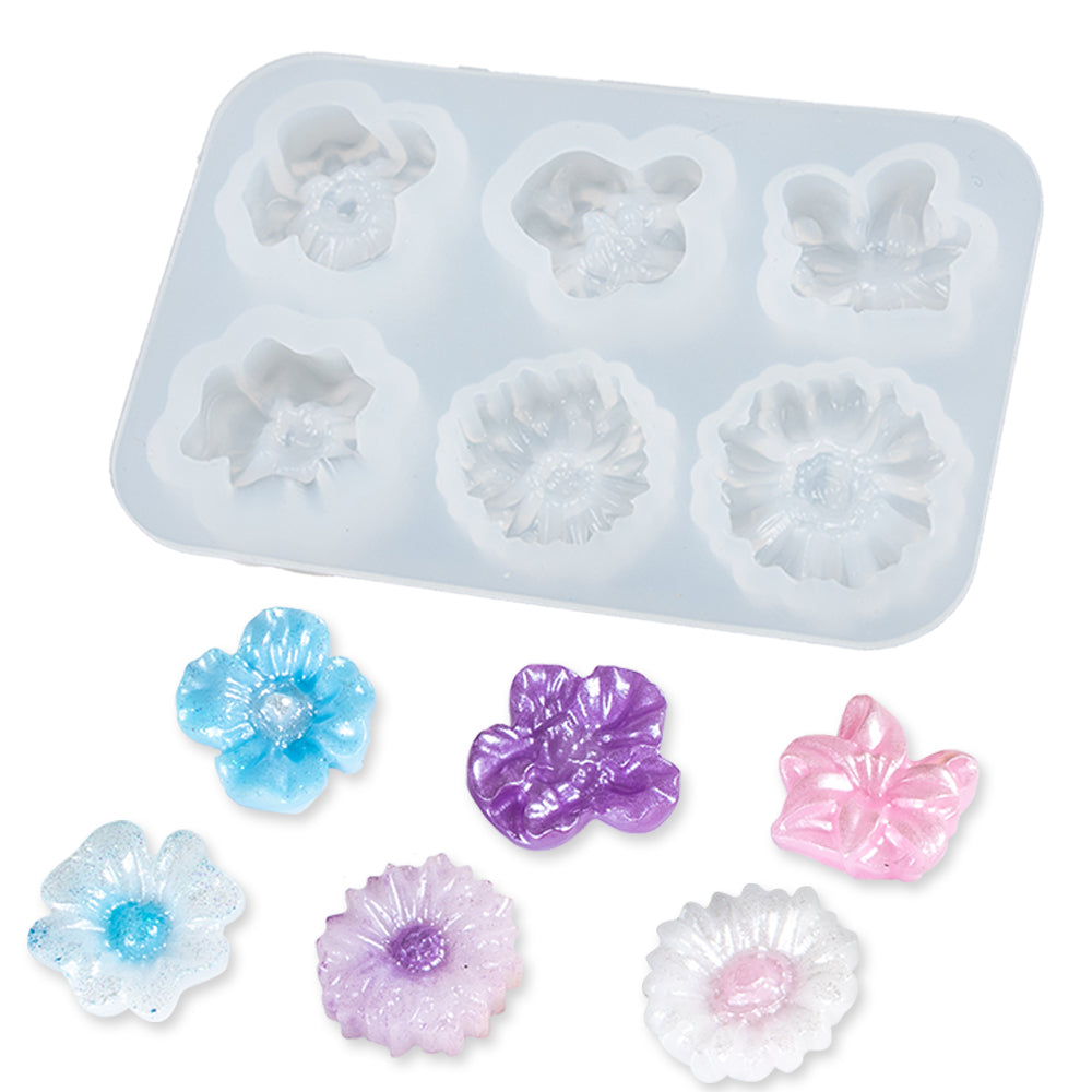 3D Flower Resin Silicone Mold 6-cavity Daisy|Plum Blossom, Mini