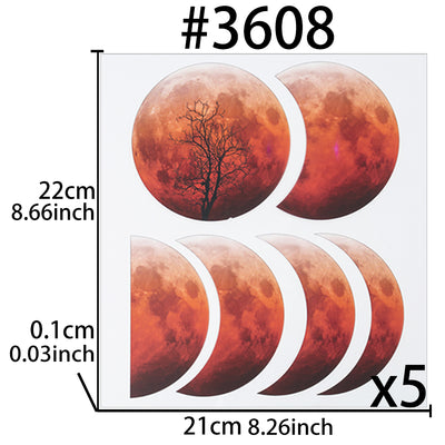 Moon Phase Transparent Films 5-sheet Red