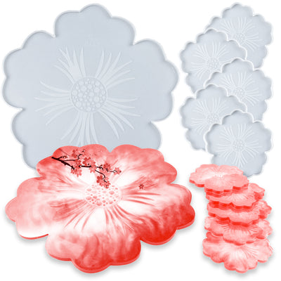 Flower Tea Tray and Coaster Epoxy Resin Silicone Molds Set 6-Bundle