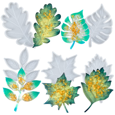 Assorted Leaf Coaster Epoxy Resin Silicone Molds Set 5-count