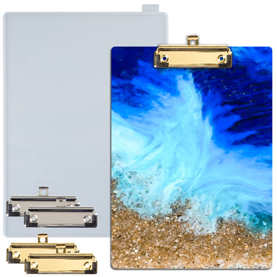 Clipboard Epoxy Resin Silicone Mold with 4 Low-profile Clips A4 Size