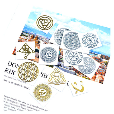 Sacred Geometry Copper Orgonite Stickers 80 Patterns, Silver