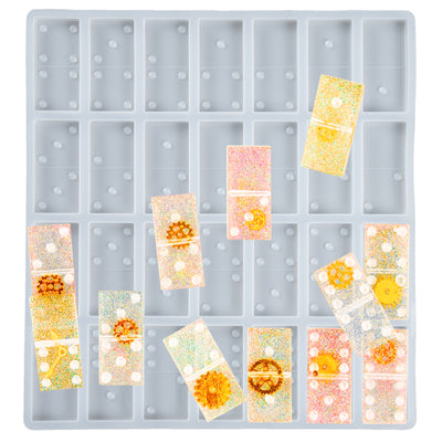Double Six Domino Resin Silicone Mold 28-cavity Each 1.9x0.9x0.2inch
