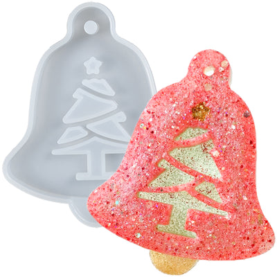 Christmas Bell Tag Resin Silicone Mold with Haning Hole, Xmas Tree