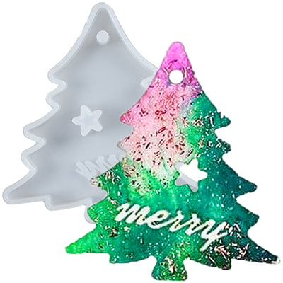 Christmas Tree Tag Resin Silicone Mold with Hanging Hole
