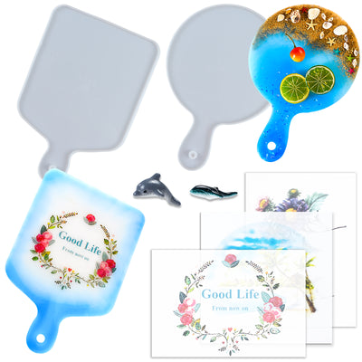 Cheese Board Epoxy Resin Silicone Molds with Shark Dolphin Figures, Stickers 7-in-set