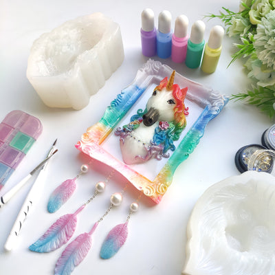Unicorn Head Epoxy Resin Silicone Mold 4.3x2.9inch