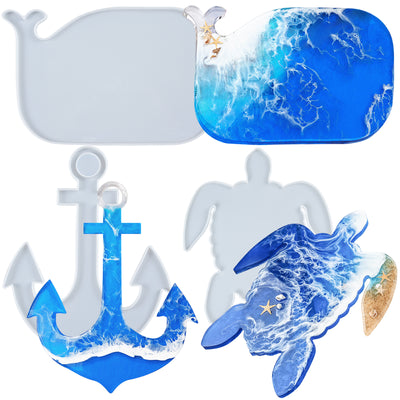 Serving Board Epoxy Resin Silicone Molds Turtle Whale Anchor 3-in-set Extra Large 12.5inch