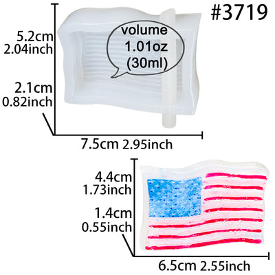 American Flag Straw Topper Epoxy Resin Silicone Mold