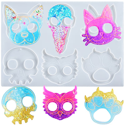 Defense Keychain Resin Silicone Mold 6-shape Owl|Cat|Dog|Paw|Skull|Raven