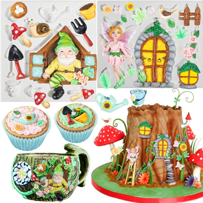 Fairy Garden Fondant Silicone Molds Elf Gnome Home Out The Door and Window 27-cavity 0.3-3.3inch