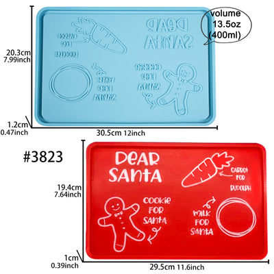 Santa Cookie Plate Epoxy Resin Silicone Mold Large 11.6x7.6inch