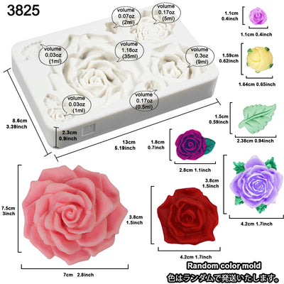 Large Roses and Flower Bud Fondant Candy Silicone Mold