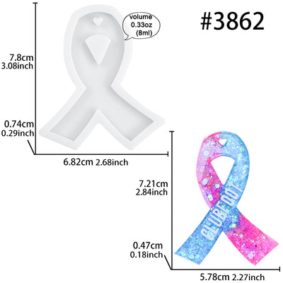 Cancer Awareness Ribbon Keychain Resin Silicone Mold with Hole 2.8x2.3inch