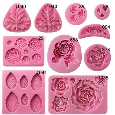 Assorted Rose and Leaf Fondant Silicone Mold Set