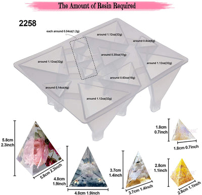 Pyramid Cone Cube Geometric Resin Casting Molds Set of 57-kit