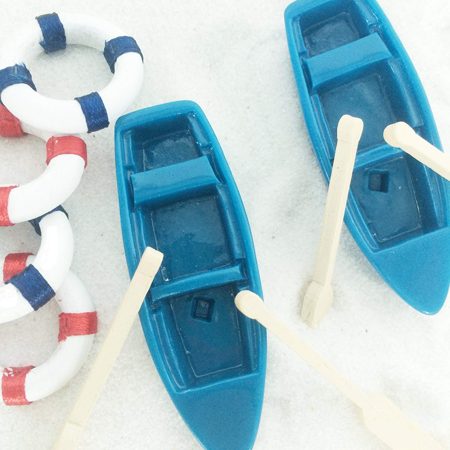 Beach Miniature Set 2 Vintage Fishing Boat with Oars and 4 Boat Life Rings