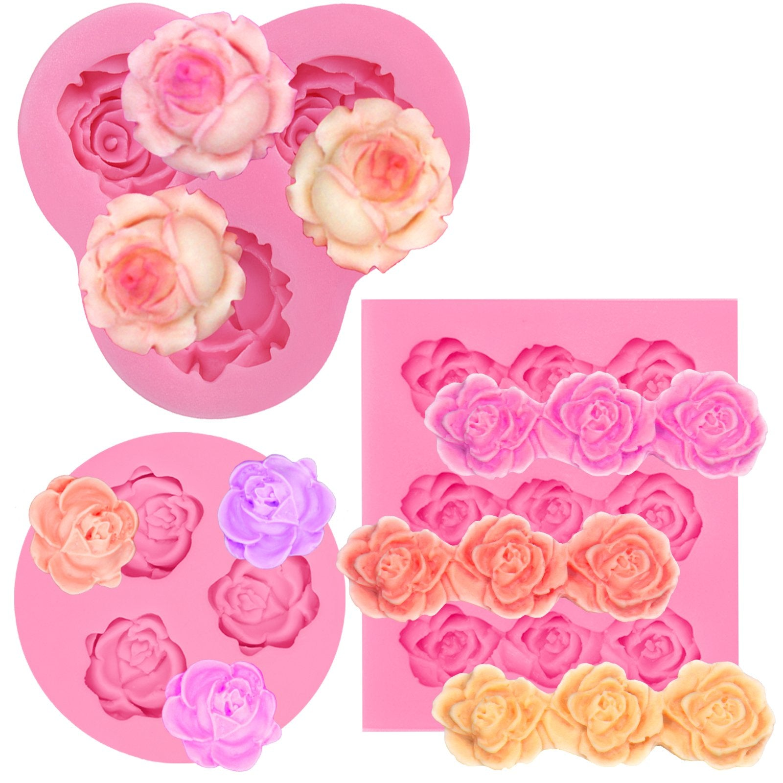 Soft and shiny silicone mould three roses of the same size