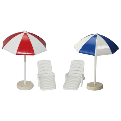 Summer Beach Chairs with Umbrellas