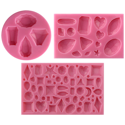Diamonds Gems Assorted Shapes Silicone Mold 3-Pieces Set