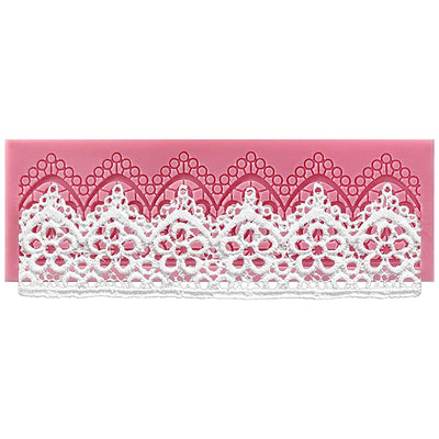 Daisy Flower Scalloped Lace Border Silicone Mold