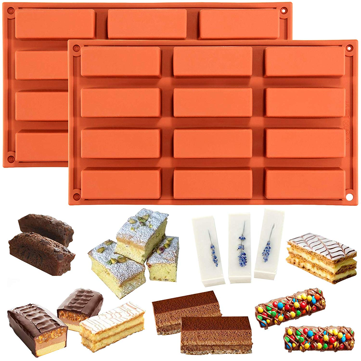 Narrow Rectangle Bars Silicone Mold 12-cavity 2-Bundle