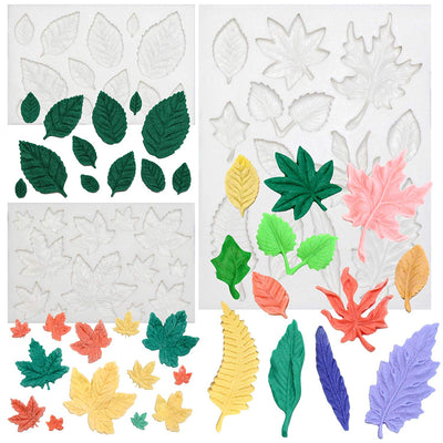 Assorted Leaf Fondant Silicone Molds 3-Count