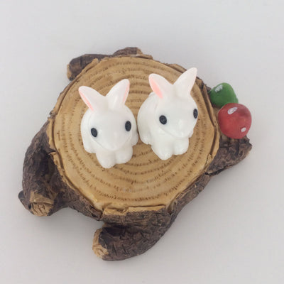 Mini White Rabbit Figurines 2-count