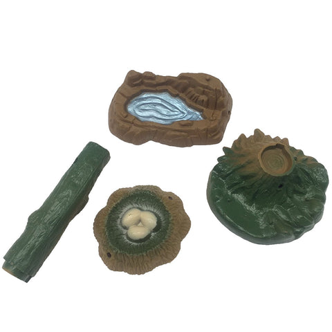 Sandbox Toy Play Set of Pond Nest Tree Stump Log Fairy Garden Landscape Miniature