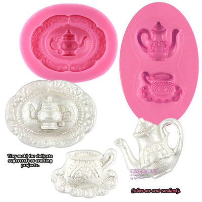 Vintage Teapot and Teacup Silicone Molds 2-Count
