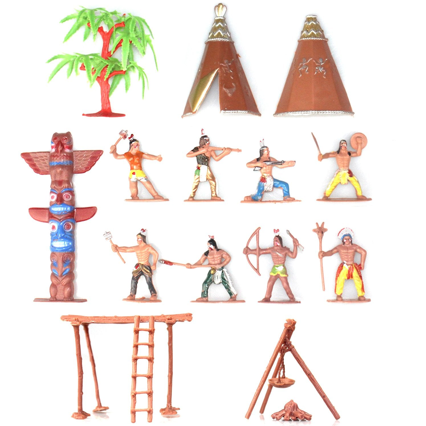 Indians Plastic Toy Figures 13-in-set