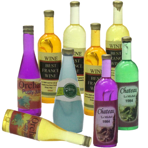 9 Wine Bottles Miniature