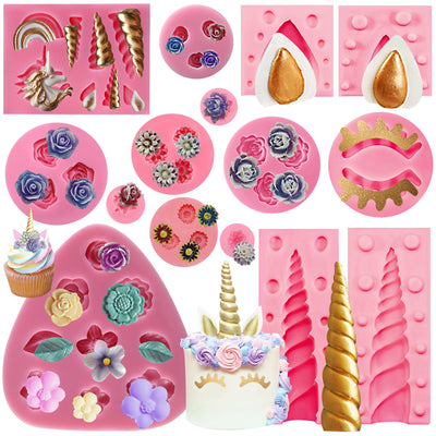 Unicorn and Flowers Fondant Silicone Molds 13-Count