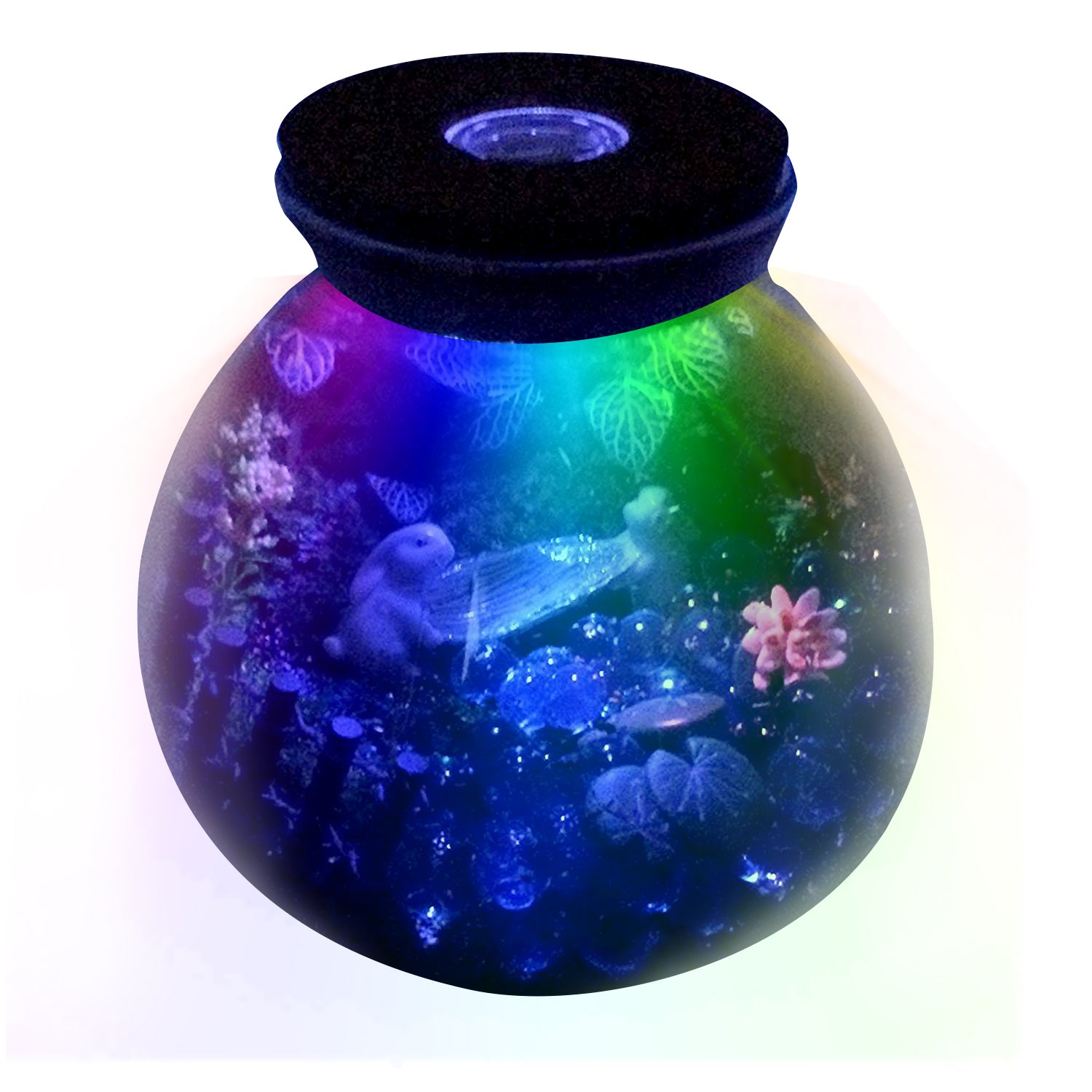 Round Glass Terrarium With Led Lid 5 9inch Funshowcase