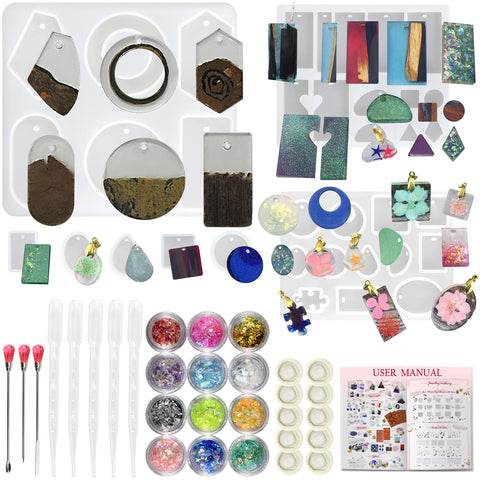 Resin Molds with Holes and Jewelry Casting Supplies Pack 39-count
